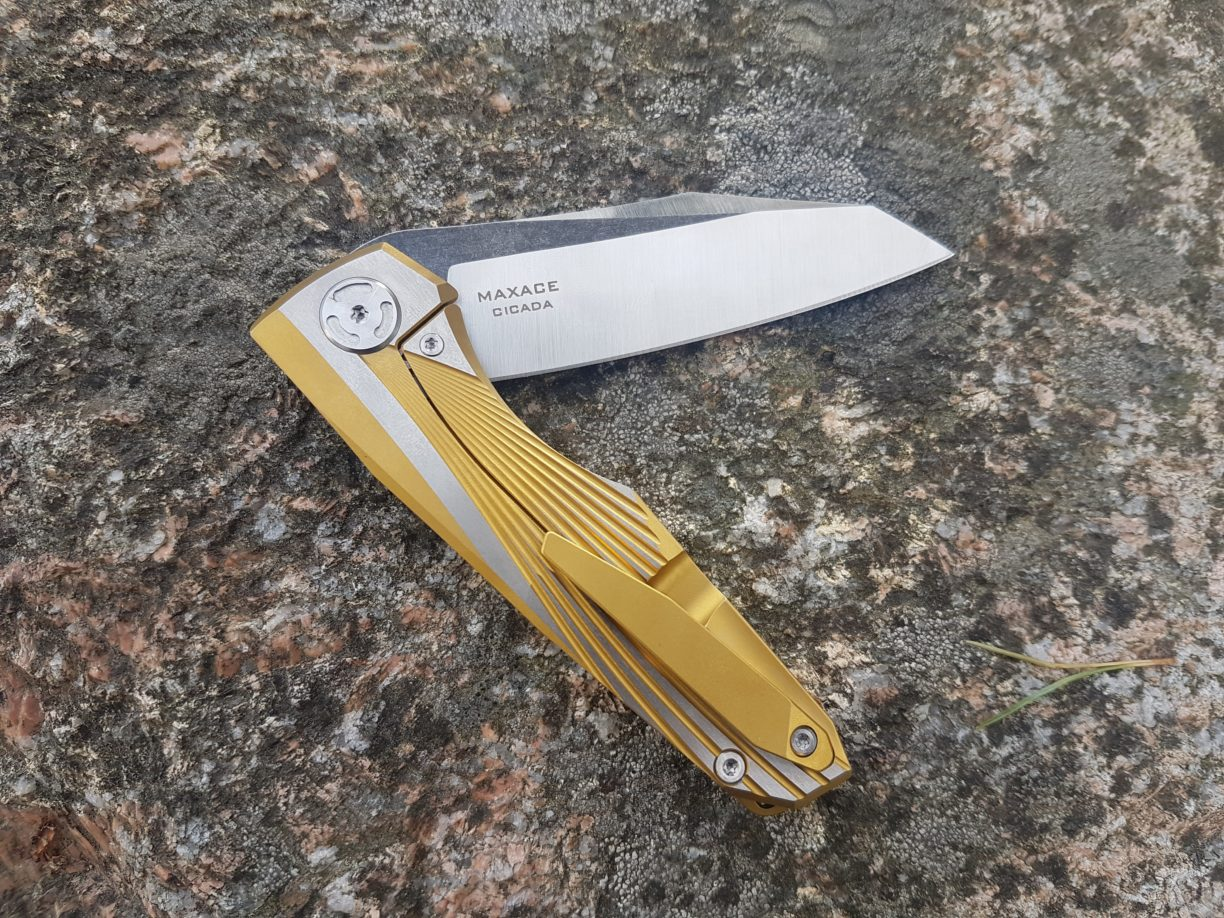 "Maxace Knives Cicada Frame Lock Knife Gold Ti (3.75"" Satin)"