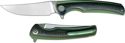 We Knife Co Ltd Ti Liner Green with CF Scale